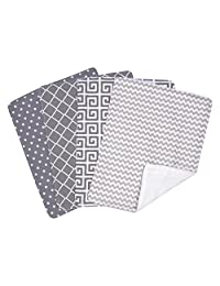 Trend Lab Ombre Gray Bouquet 4-Piece Burp Cloth Set