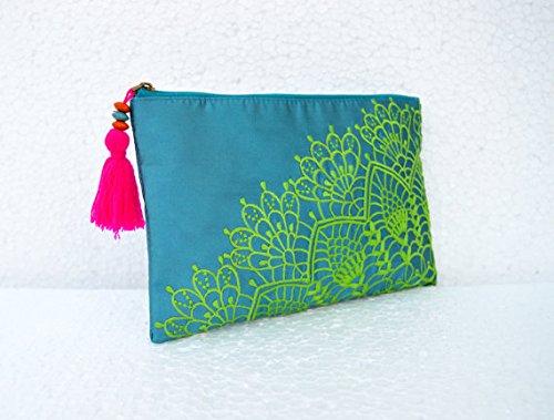 7 nbsp;cm brodée nbsp;x Turquoise VLiving motif 9 12 Polytafetta Pouch 22 Crochet w0xPO