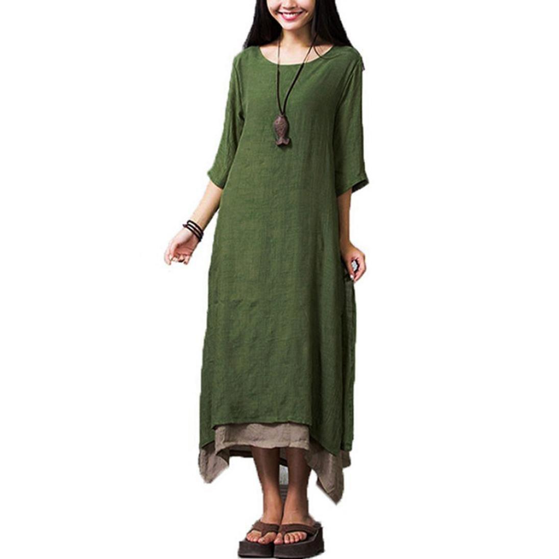 Hmlai Cotton Linen Dress, Women Retro 3/4 Sleeve Double Layer Casual Loose Maxi Dress Plus Size (Army Green, L)