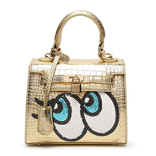 Women Korean Cute Design Crocodile Pattern Pu Leather Handbag Shoulder Bag Tote Bag Crossbody Bag Mothers' Day Gift (gold)