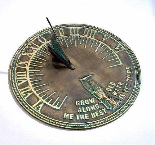 Antique Solid Brass 'Old Father Time' Ornamental Sundial (200 mm Diameter) Black Country Metal Works HS070/A/200