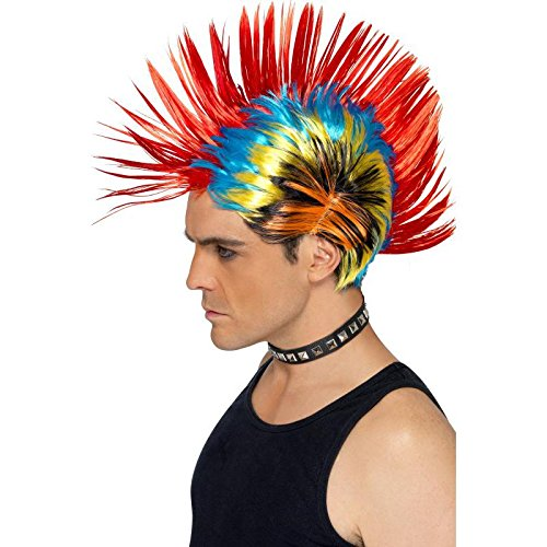 Punk 80s Costume (Smiffy's Men's Rainbow Mohawk, One Size, 80's Street Punk)