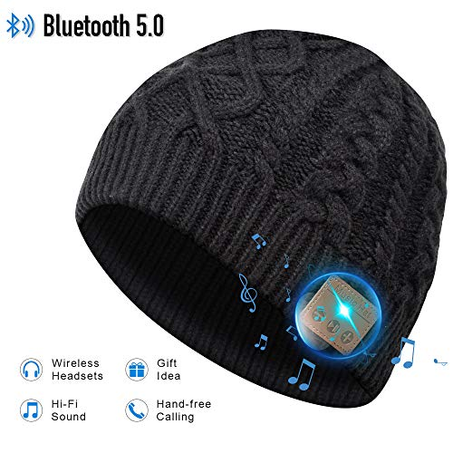 Bluetooth Hat, Bluetooth Beanie, Winter Knitted Beanie Cap with Wireless Stereo Headphone for Running, Skiing, Camping, Hiking, Thanksgiving Day (Black)