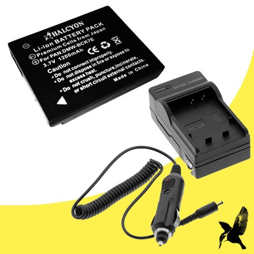 Halcyon 1200 mAH Lithium Ion Replacement Battery and Charger Kit for Panasonic Lumix DMC-S3 14.1MP Digital Camera and Panasonic DMW-BCK7