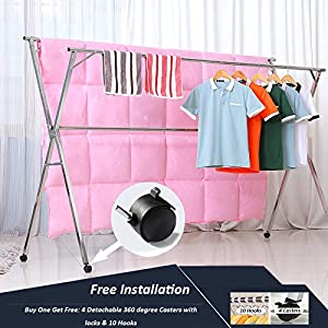 Reliancer Free Installed Stainless Steel Clothes Drying Rack Foldable Space Saving Retractable Rack Hanger Heavy duty 43.3-59 inches
