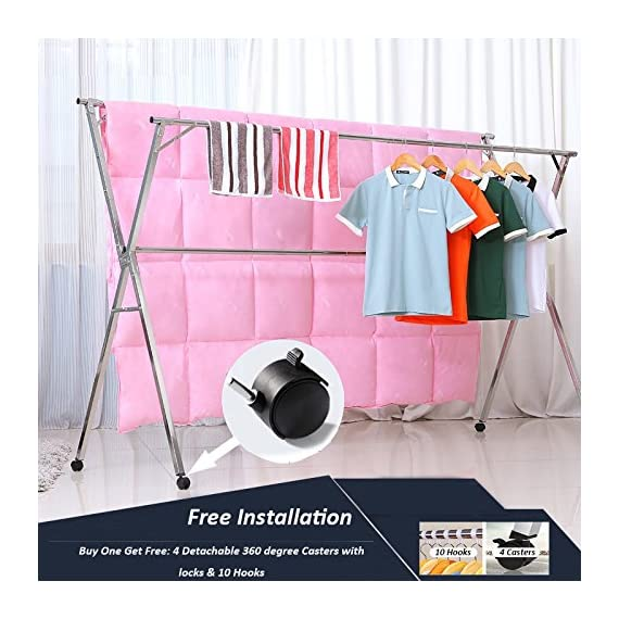 Reliancer Free Installed Clothes Drying Rack Stainless Steel Foldable Rack Hanger Space Saving Retractable 43.3-59 inch Clothes Rack Adjustable Clothes Hanger Rolling Rack with 4 Casters & 10 Hooks - 【All Stainless Steel Construction】The material including the fastenings is rust-proof stainless steel, perfect for indoor or outdoor drying, will not rust even under rainy environment 【Extensible Horizontal Rods】Both rods can be extended from 43.3'' to 59'', the max size is 59x30x52 inch, add more room for longer garments like pants and long dresses 【Free Installation and Save Space】Retractable and foldable, easy to open and fold for compact storage to save space, no need tools to install. The folding size is just 59x4.72x3.54 inch. You can just put it in any small corner when you do not need - laundry-room, entryway-laundry-room, drying-racks - 51KnBvHOqbL. SS570  -