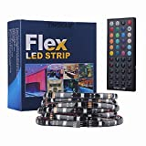 Tingkam® 16.4 ft 5M Waterproof 5050 SMD RGB LED Flexible Strip Light Black PCB Board Color Changing Decoration Lighting 150 LEDS Kit + 44 key Remote Controller+ 2.5A US Power Adapter