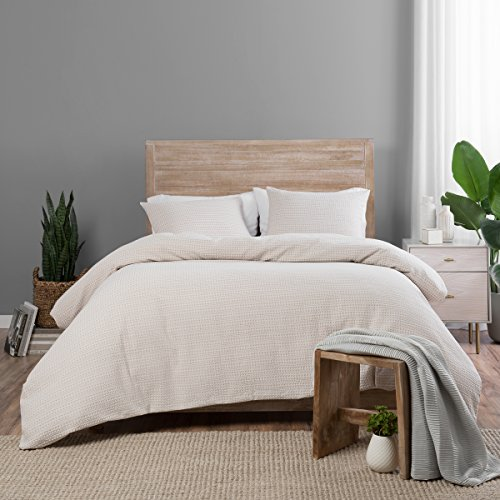 3pc King Dunkin Duvet Cover Set Taupe - Vue Elements