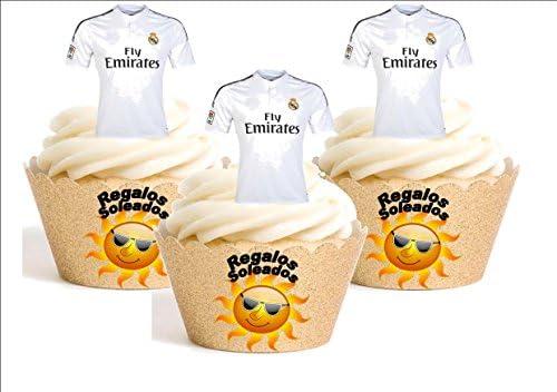 12 x Real Madrid Camiseta de Fútbol 2016-17 Decoración Comestible Personalizacion de Reposteria Feliz Cumpleanos