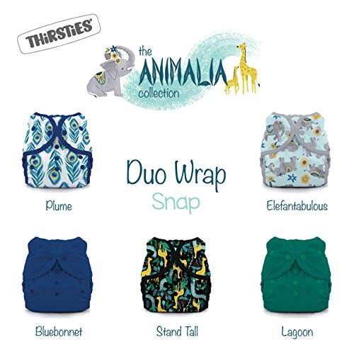 Thirsties Animalia Cloth Diaper Collection Package, Snap Duo Wrap Cloth Diaper Cover, Animalia Size 1