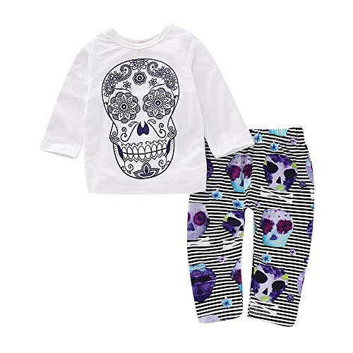 Newborn Baby Boy Girl Halloween Clothes Long Sleeve Skull Print Tops Striped Pants Outfits Infant Cotton Pajamas Set (White, 6M)