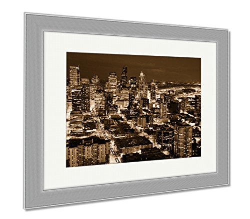 Ashley Framed Prints Nightview Of Downtown Seattle Wa, Wall Art Home Decoration, Sepia, 34x40 (frame size), Silver Frame, - Shops Downtown Seattle