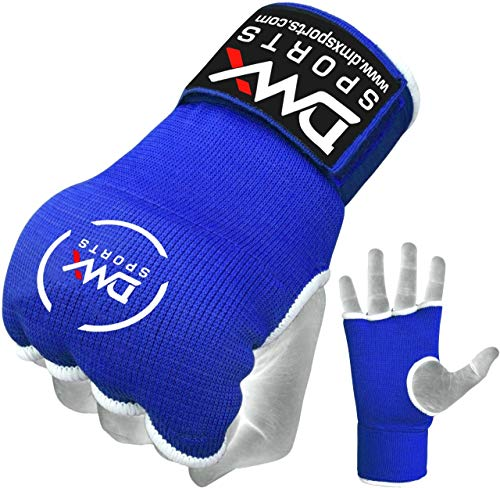 Padded Inner Gloves Training Gel Elastic Hand Wraps for Boxing Gloves Quick Wraps Men & Women Kickboxing Muay Thai MMA Bandages Fist Knuckle Wrist Wrap Protector Handwraps (Pair) (Blue, Large) ()