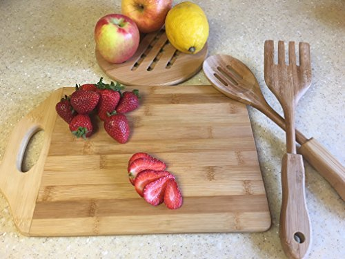 Beautiful Natural Organic Bamboo Wood Kitchen Countertop Cutting Board Set with Bonus Utensils and Trivet. Best Housewarming, Weddings, Chef's or Hostess Gift. (Wood Kitchen Countertops)