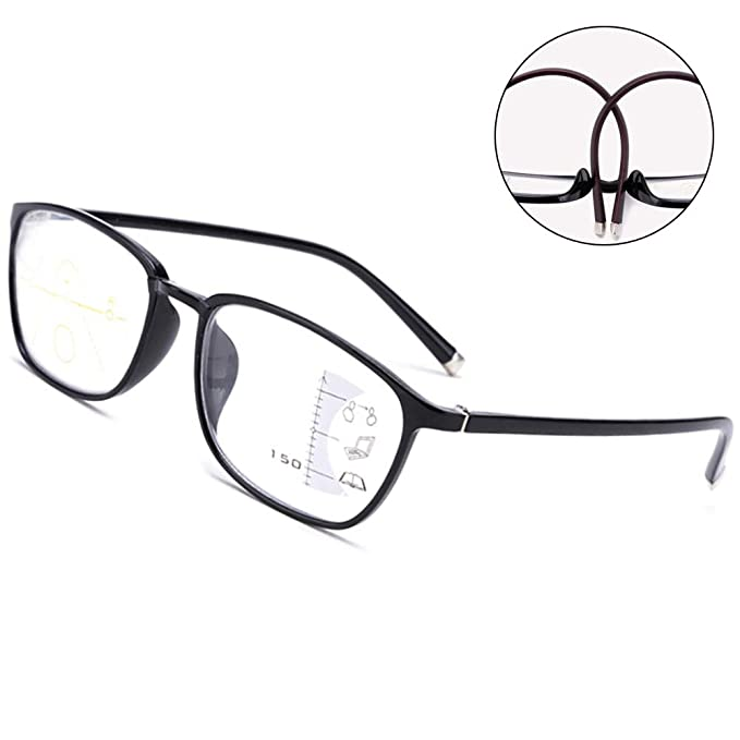 2818e2ef5b7b Amazon.com: TR90 Multiple Focus Progressive Reading Glasses Blue Light  Blocking Glasses Multi 3 Power Focus Eyewear Bifocal: Clothing