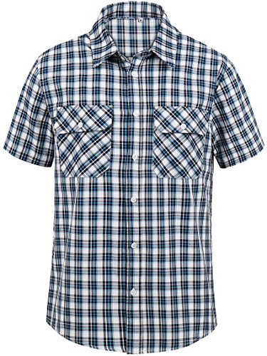 Hopioneer Men's Short Sleeve Button Down Plaid Shirt Near Slim-fit Cotton Button up Casual Shirt (X-Large, ()