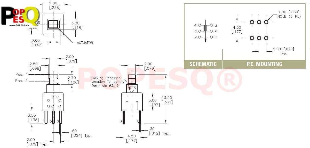 Stk 5 x MINI Schalter Switch 6mm x 6mm LATCHING Mikroschalter THT PCB #A283