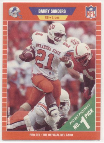 1989 Pro Set 494 Barry Sanders Rc Detroit Lions Rookie Football Card Shipped In Protective Display Case