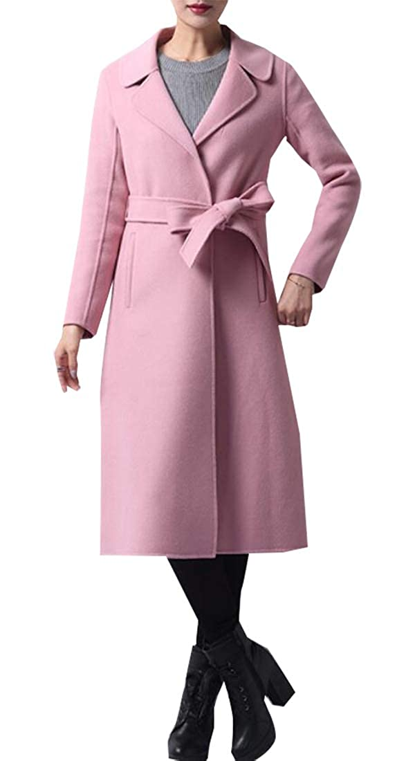 Pink Generic Womens Classic Winter Lapel DoubleBreasted Solid color Outerwear Pea Coat