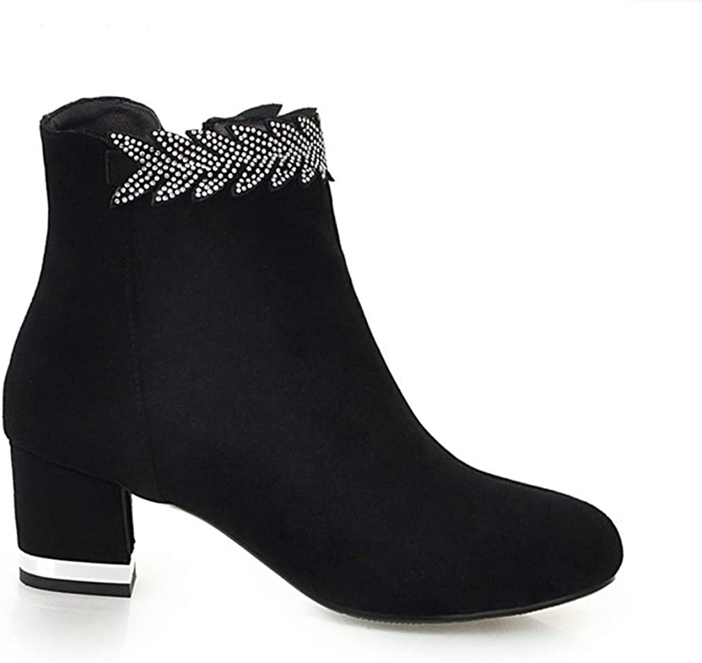 Womens Mid Chunky Heel Ankle Boots Zipper Round Toe Glitter Cuff Casual Warm Suede Winter Bootie