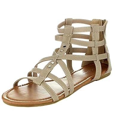Top Moda Al-15 Gladiator Sandals, Beige Pu, 5