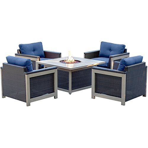 Hanover MNT5PCFPST-NVY Montana 5 Piece Fire Pit Chat Set in Navy Blue with 40,000 BTU Fire Pit Table (Fire Pit Chat Sets)