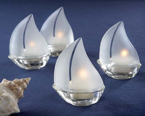 - Set Sail Frosted Glass Sailboat Tealight Holders, Set of 4, 1 piece
