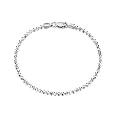 Amberta 925 Sterling Silver 3.5 mm Ball Bead and Bar Chain Bracelet Size 7