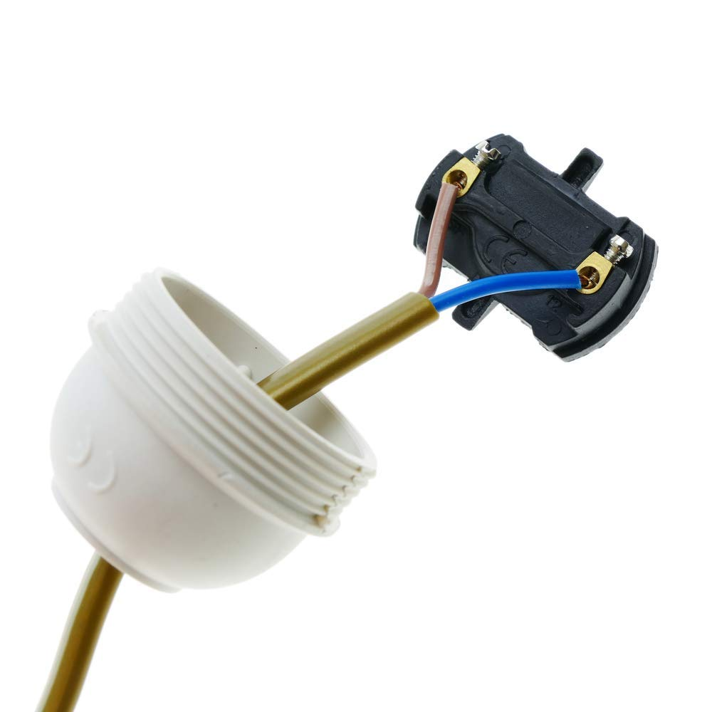 Cable alimentaci/ón con interruptor conector bipolar a bornes dorado 2m BeMatik