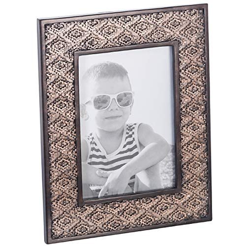 Dublin 5 X 7 Picture Frame - Table Desktop Photo Frame Display with Glass Front & Easel Back, Decorative Decals for Living Room - Gift Idea for Grandma, Grandpa, Mom, Dad (Brown) by Creative Scents