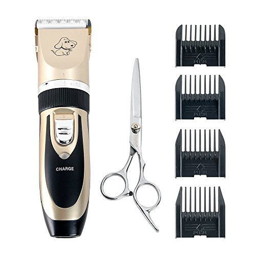 Pet Grooming Clipper , AceFox Rechargeable Cordless Dogs and Cats Electric Clippers with Deluxe Kit Set - Gold (Cut Hair Machine For Dogs compare prices)