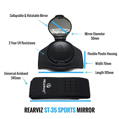REARVIZ Bicycle ST-35 Rear View Mirror Unit, Fully Adjustable - [Green] by RearViz (Image #8)
