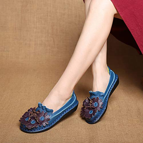 39 Bleu Jaune Flat Flats Vintage Eu Zhrui Shoes Taille Soft coloré Femmes En Floral Casual Cuir q6nwxBZP