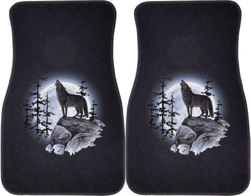 Wolf Car Mats - Wolf Moon Standing (Black) Car and Truck Front Mats - Set of 2
