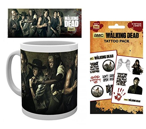 Set: The Walking Dead, Andrew Lincoln Photo Coffee Mug (4x3 inches) And 1 The Walking Dead, Tattoo Pack (7x4 inches)