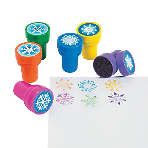 Fun Express - Snowflake Stamps (2dz) for Winter - Stationery - Stamps - Stamps - Self Inking - Winter - 24 Pieces