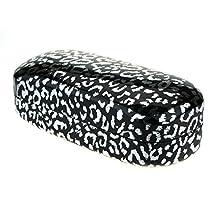 Womens Metal Foil Leopard Print Large Clamshell Hard Sunglasses Case