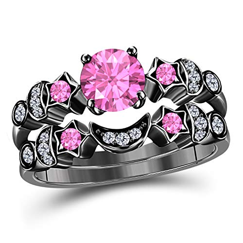 (DreamJewels 1.50 ct Round Cut CZ Pink Sapphire 14k Black Gold Plated Moon and Star Wedding Engagement Bridal Set Rings for Her)