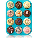 Lucentee® Large Muffin Pans - Top Non Stick Bakeware for Muffins, Cakes and Cupcakes - 12 Cups Texas Jumbo Silicone Mold / Baking Tray - Heat Resistant Tins up to 450°F- Easy to Clean - Blue