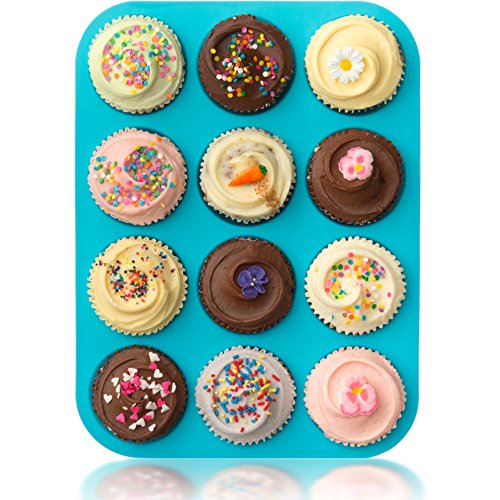 Lucentee¨ Large Muffin Pans - Top Non Stick Bakeware for Muffins, Cakes and Cupcakes - 12 Cups Texas Jumbo Silicone