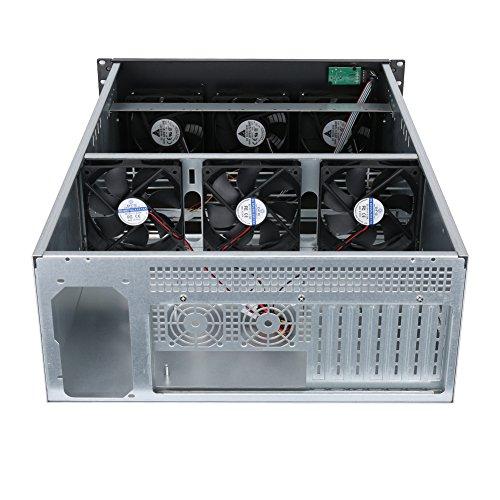 SHINESTAR 4U GPU Miner Mining Rig Server Case,4U Metal Rackmount Caseh with 6 Fans Pre-Installed for Bitcoin Mining Miner Kit Unassembled Ethereum Specially designed for ETH/ZEC/XMR mining machine.