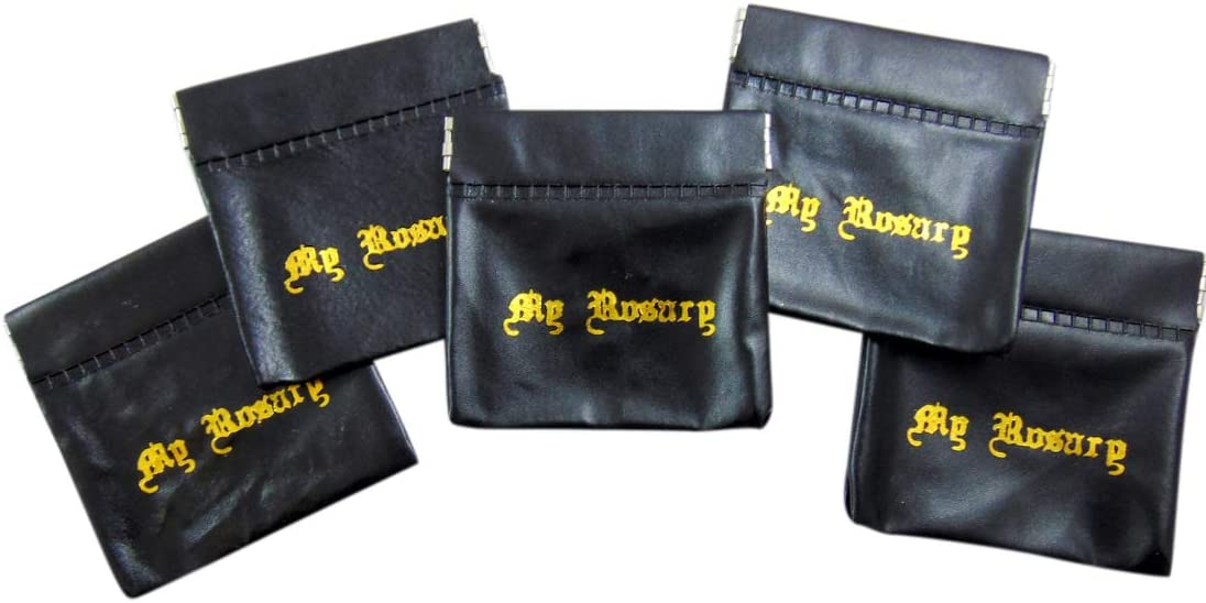 Black Vinyl Rosary Case Squeeze Snap Closure Lot of 5 Bulk Pack