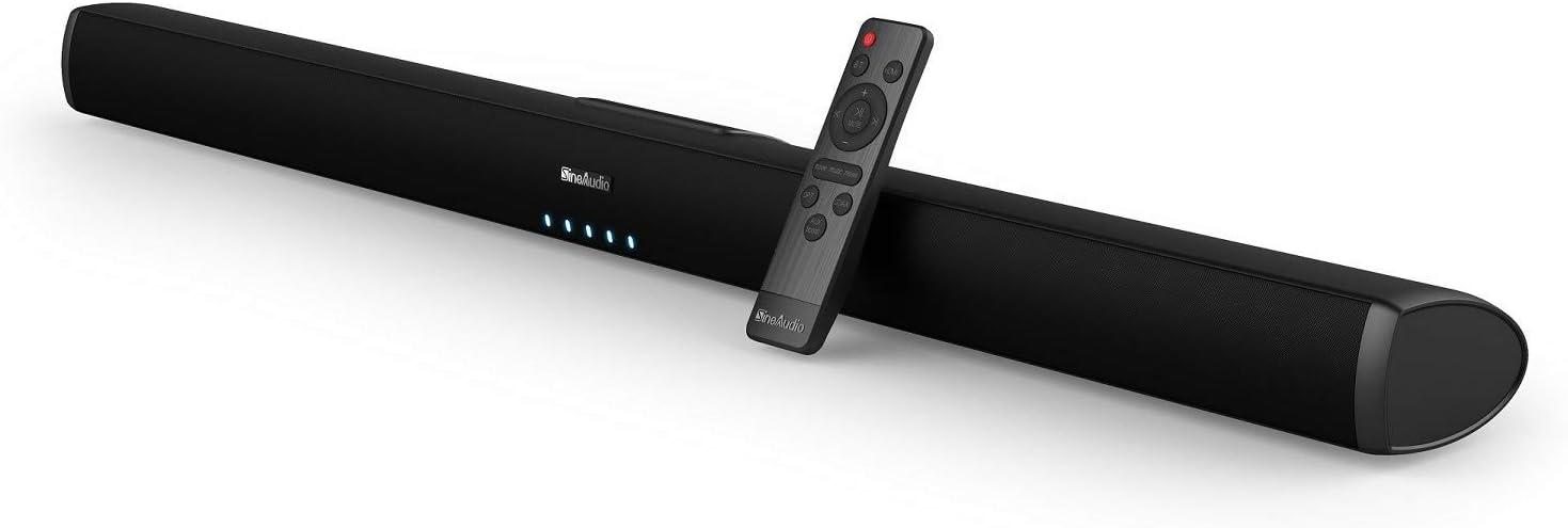 Barra de Sonido para TV, SineAudio con Cable e inalámbrico, Bluetooth 5.0, Altavoces estéreo Soundbar, Sistema de Sonido Surround de Cine en casa de 32 Pulgadas, Posibilidad de Montaje en Pared
