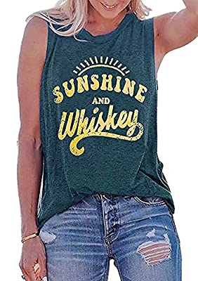 Cezemin Sunshine and Whiskey Tank Tops Women Funny Country Music Drinking Party Sleeveless Summer Festival Vest Tshirt