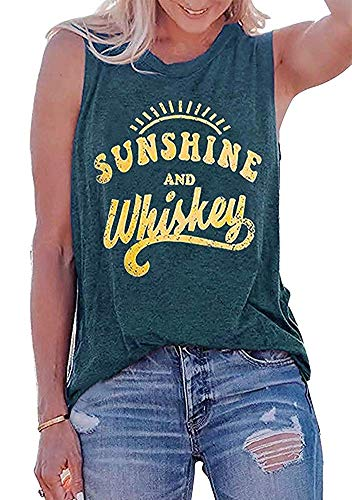 MOMOER Sunshine and Whiskey Tank Tops Women Funny Country Music Drinking Party Sleeveless Summer Festival Vest Tshirt (Green-1, - Graphic Tank