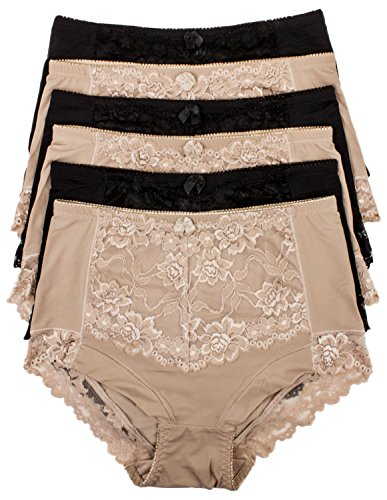 Barbra's 6 Pack Ruched-Rear Uplift Full Brief Lace Trim Panties (5XL)