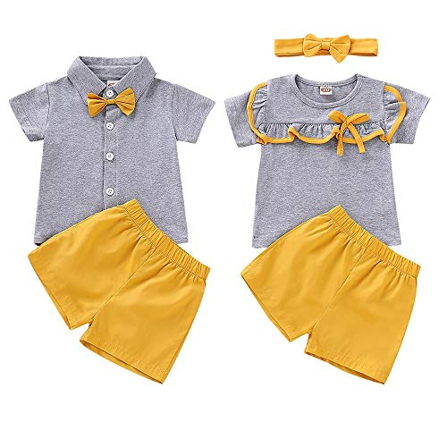 topseller-hzy Brother and Sister Matching Outfit Baby Girl Boy Short Sleeve T-Shirt Top Short Pants Clothes Set (Brother And Sister Matching Christmas Outfits Uk)