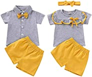 Tianhaik Brother and Sister Matching Outfits Ruffle Polo Shirt and Shorts Clothes Set