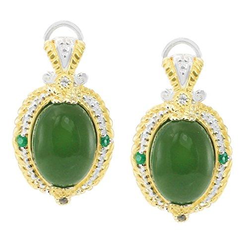 Michael Valitutti Palladium Silver Green Chalcedony, Emerald & White Sapphire Earrings with Omega Backs