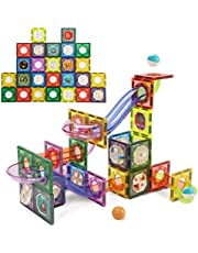 CUTE STONE Magnetic Tiles Magnetic Blocks Building Toys Marble Run STEM Toys for Kids, Boys and Girls, 84 PCS